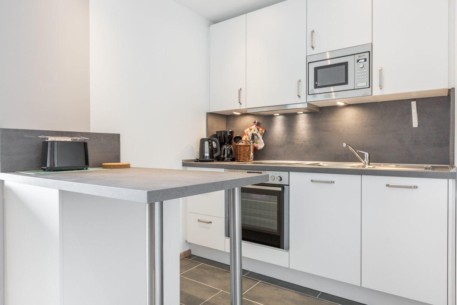 Küche - Haus Atlantic, Wohnung 93, 3-Zimmer-Ferienwohnung für bis zu 4 Personen, Alter Badweg 11-15, St. Peter-Bad