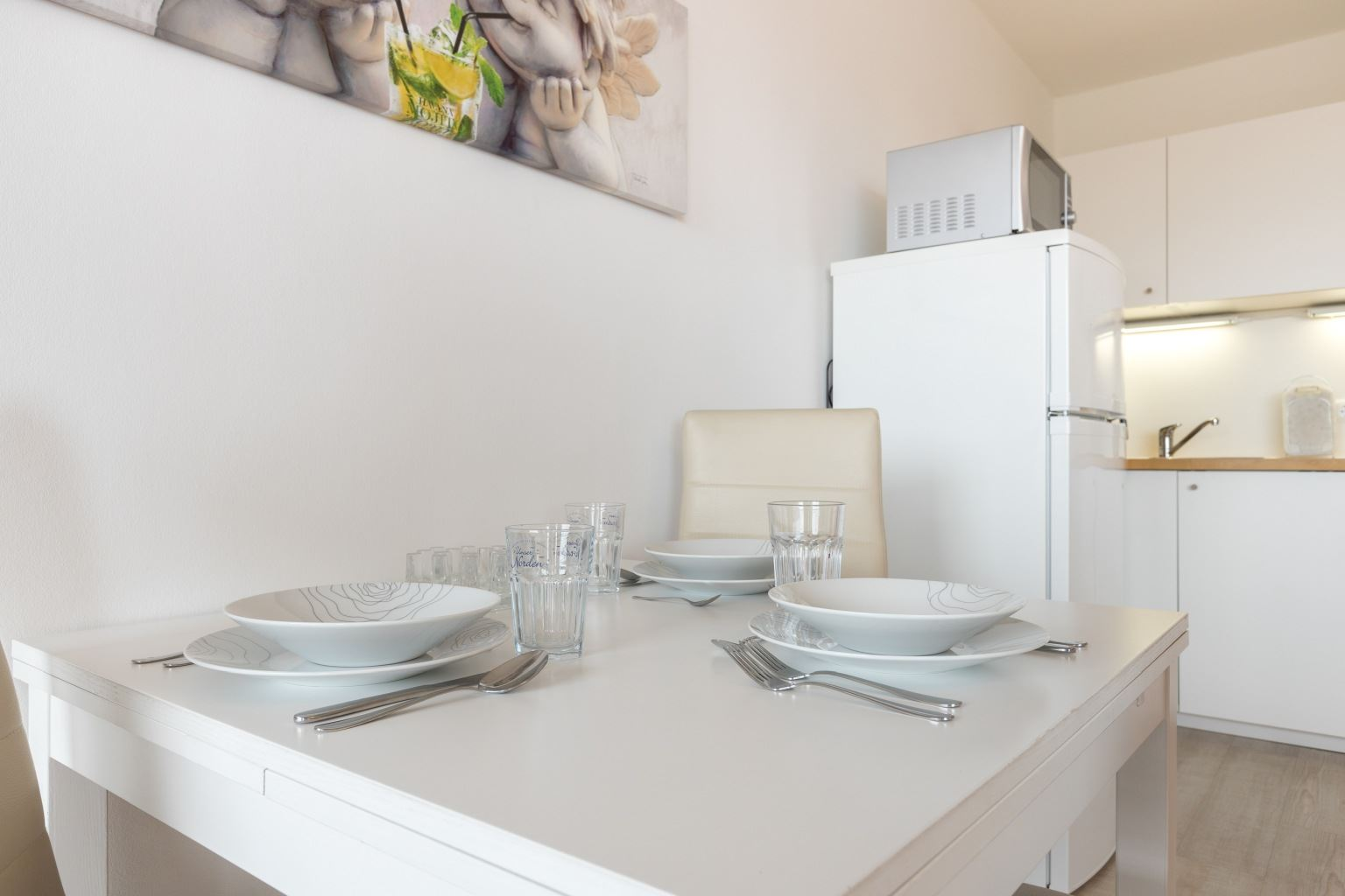 Essbereich und Küche - Haus Luv und Lee, Wohnung 28, Im Bad 18, St. Peter-Bad