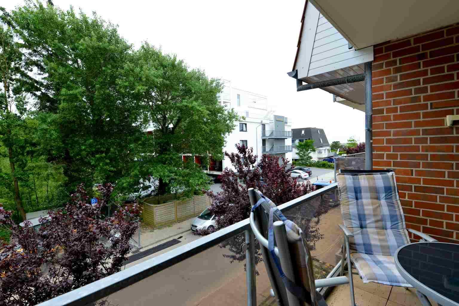 """Ausblick vom Balkon """"Meer und Sonne"""" Wohnung 4 """"Strandläufer im Bad"""" (ID 018), 2-Zimmer-Ferienwohnung / 4 Personen, Strandläuferweg 10, St. Peter-Bad"""