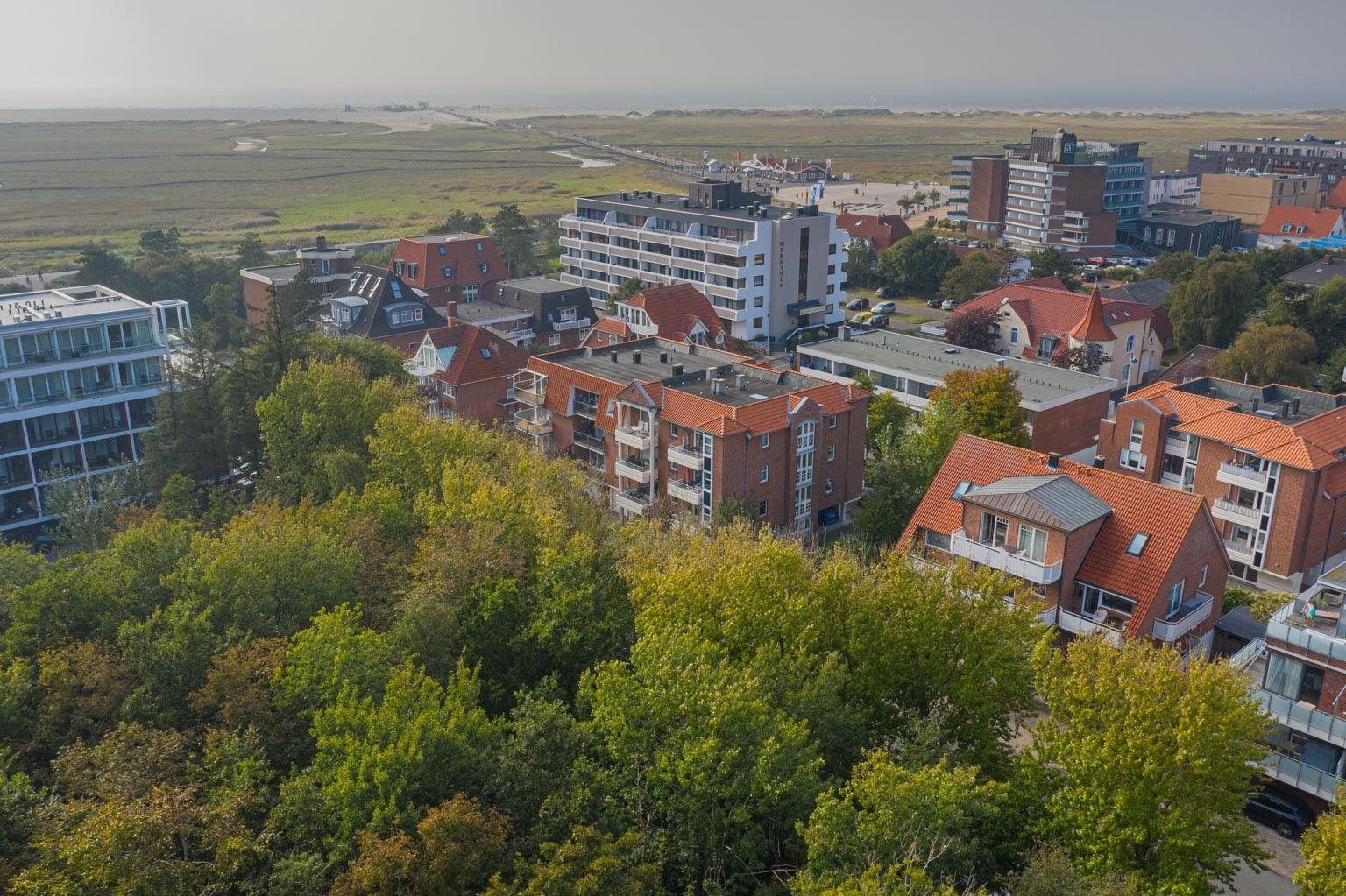 Luftbild mit Meerespanorama