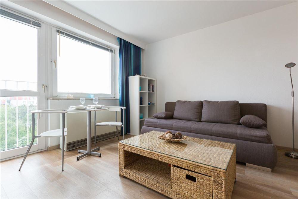 """Wohnzimmer - Wohnung 45 """"Markwardt"""", 1-Zimmer-Ferienwohnung für bis zu 2 Personen, Fritz-Wischer-Straße 7, St. Peter-Bad, SPO"""