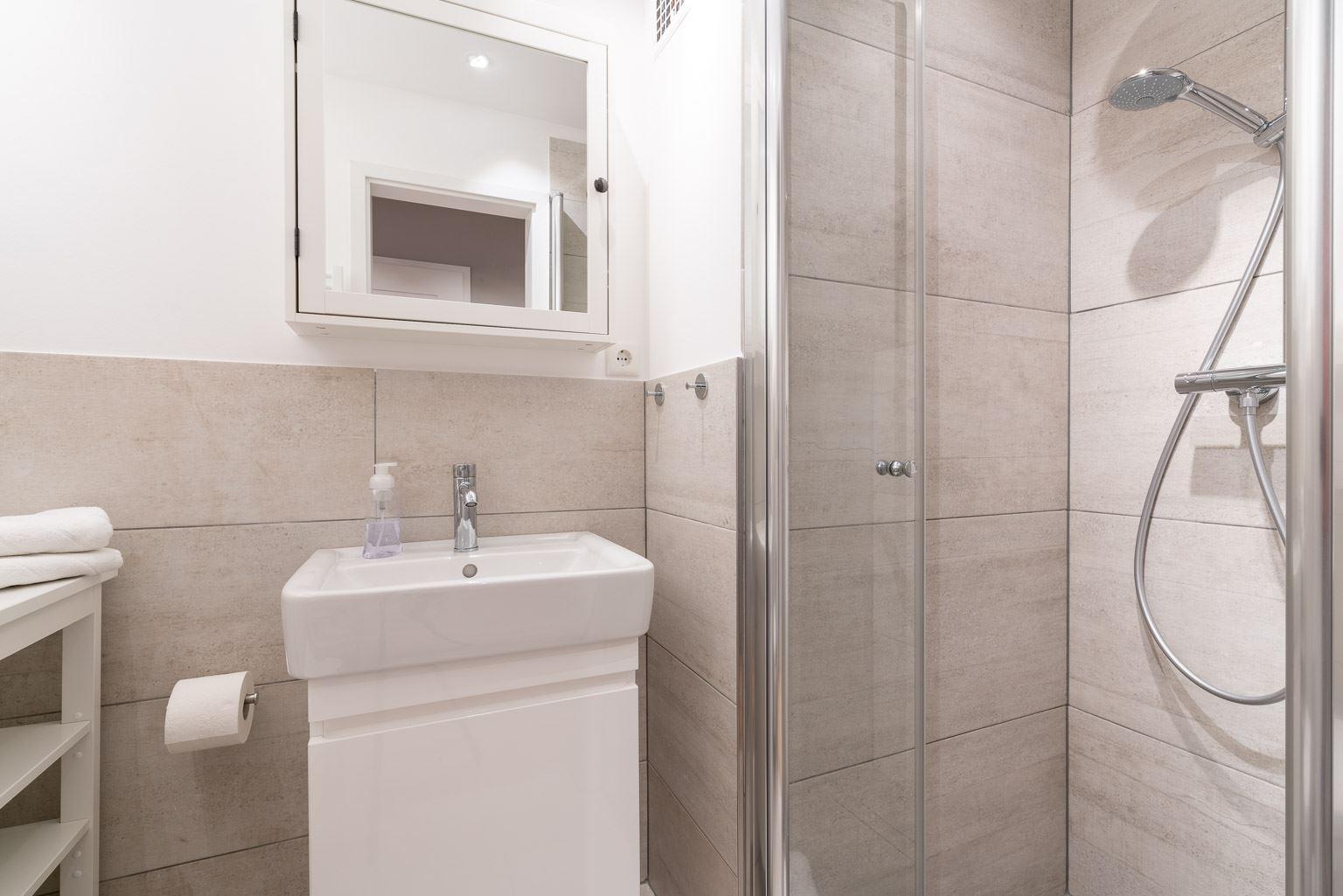 Badezimmer - St Peter Ording Bad, Haus Fritz Wischer Strasse 5, Wohnung 6