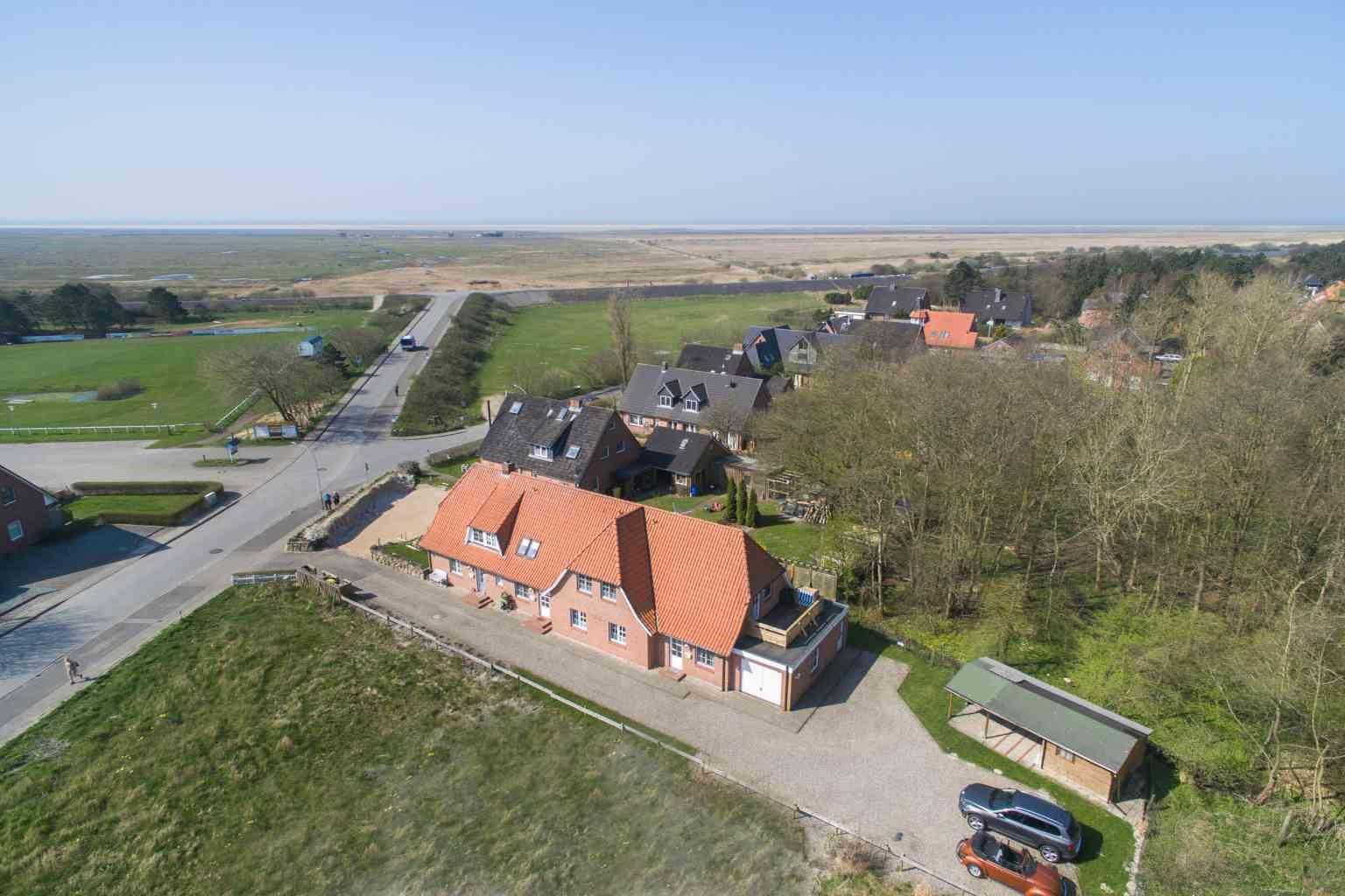 Luftbild mit Meerspanorama Haus Paulsen, St. Peter-Dorf