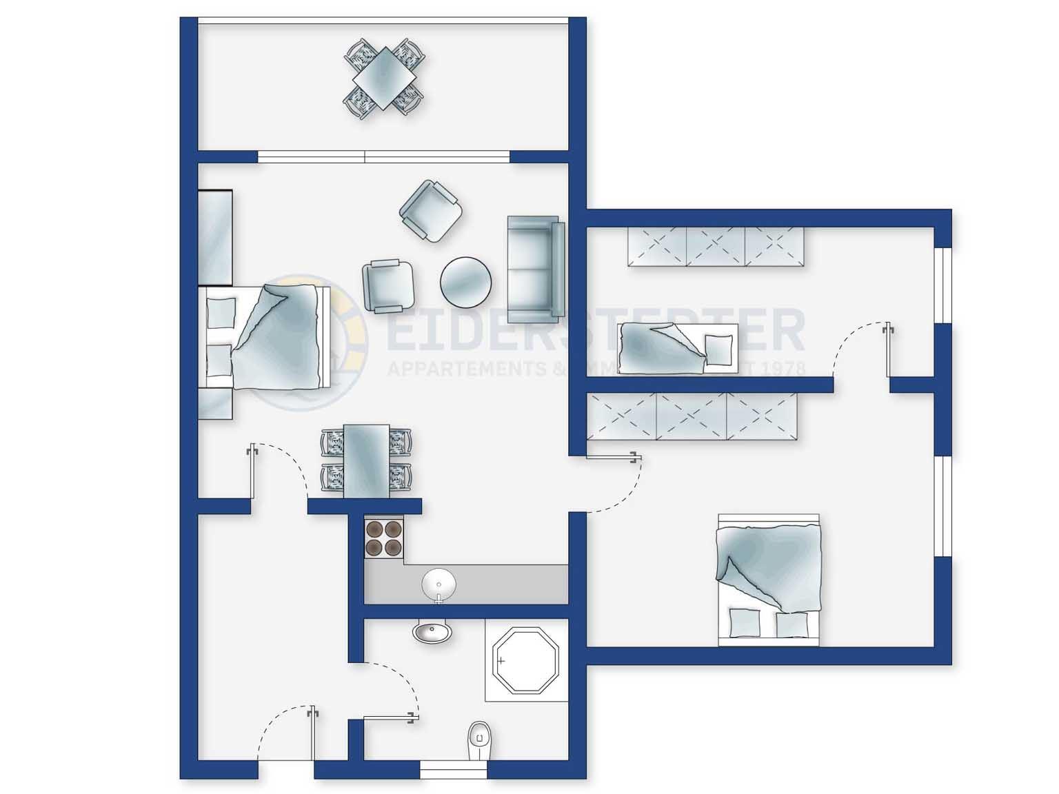 Grundriss - 3-Zimmer Ferienwohnung Dreilanden, Im Bad 6, St. Peter-Bad