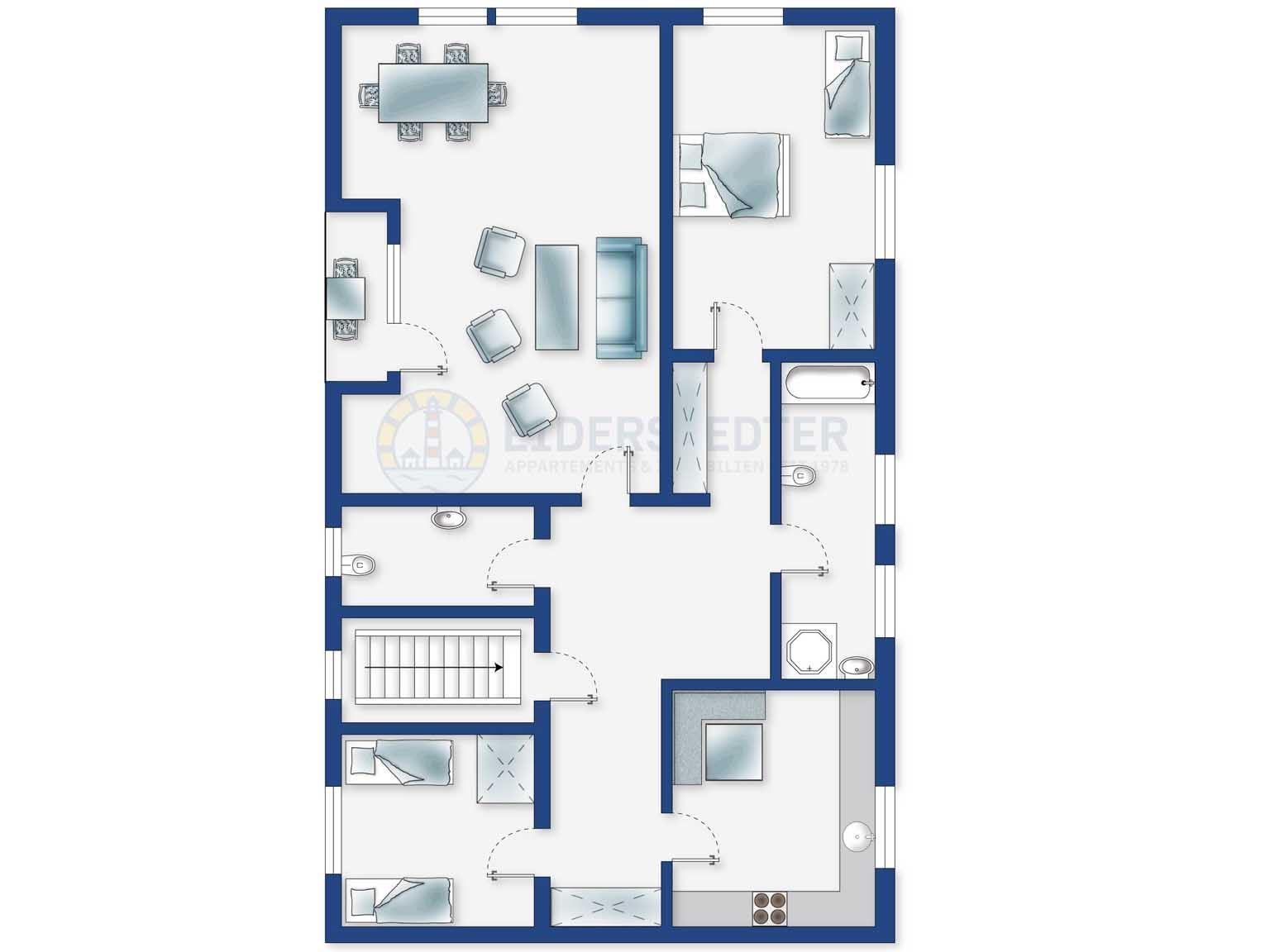 Grundriss - Haus Kirchhoff, Wohnung OG, Achter de Dünen 2a, St. Peter-Bad